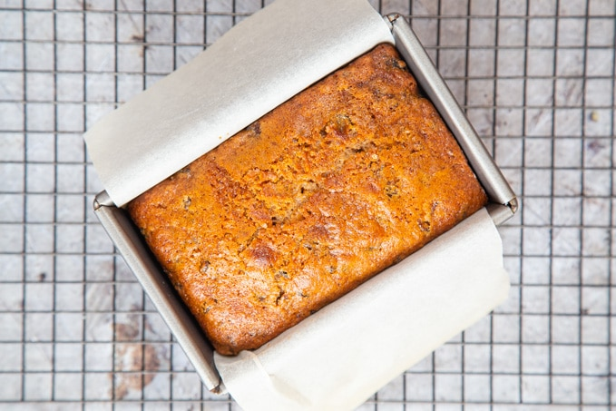 Cooked tea loaf from above