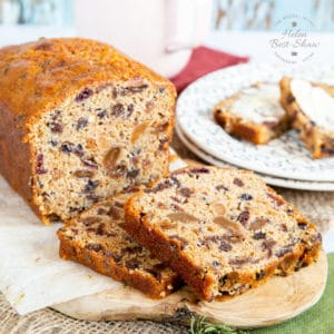 Close up on fruity tea loaf.