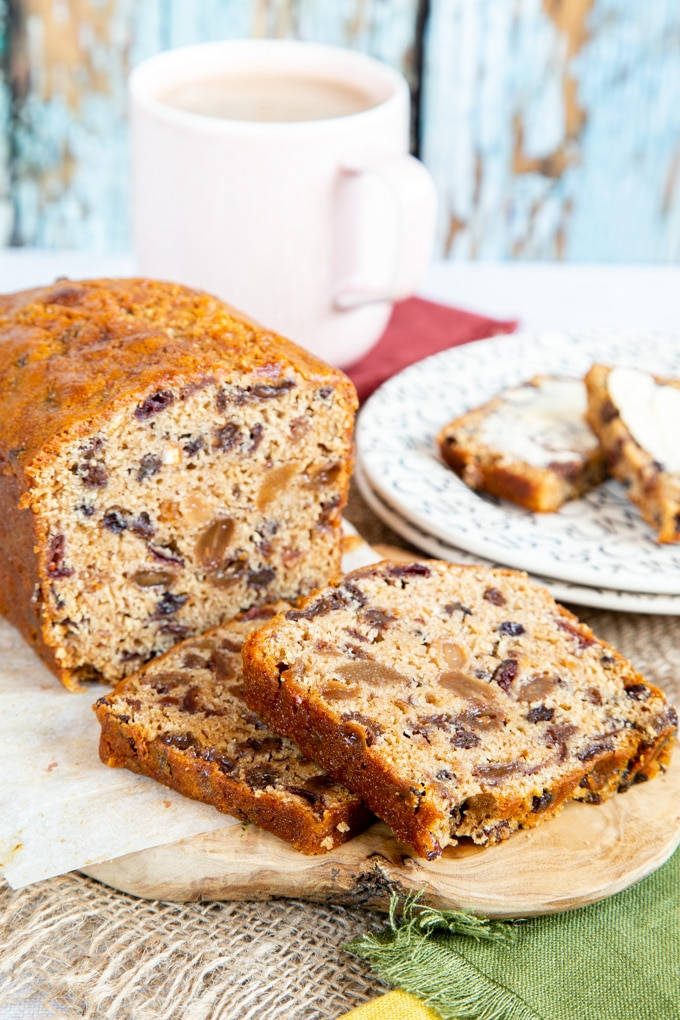 Slices of fruit tea loaf, loaded with dried fruit.