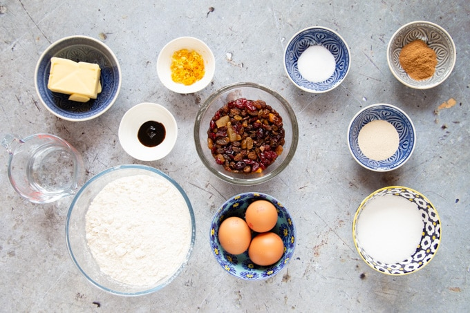 Ingredients for Spanish Epiphany cake - rosca de reyes