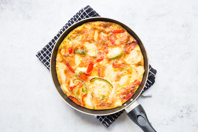 A cooked turkey frittata in a frying pan, viewed from above