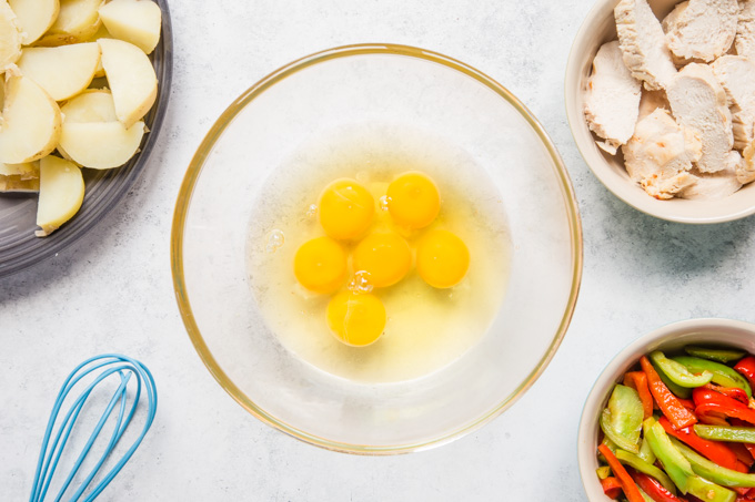6 eggs broken into a glass bowl surrounded by the ingredients for a leftover roast turkey frittata