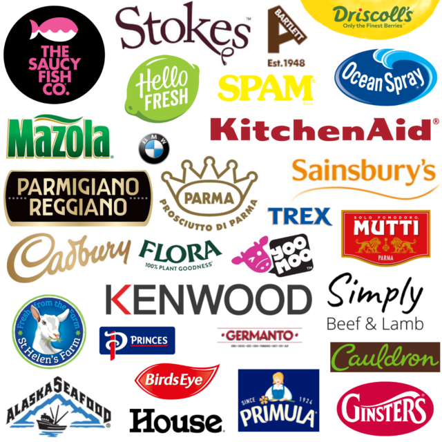 Collage of brand logos worked with including The Saucy Fish Co, Stockes, Albert Bartlett, Driscolls, Hello Fresh, Mazola, BMW, Spam, Ocean Spray, Kitchen Aid, Sainsbury's, Parmigiano Reggiano, Parma, Trex, Mutti, Cadbury, Flora, Yoo Moo, Simply Beef & Lamb, Kenwood, St Helen's Farm, Princes, Germanto, Cauldron, Alaska Seafood, Birds Ete, Primula, Ginsters, And House.