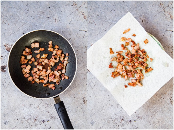 Diced bacon is fried and then cooled on kitchen paper to remove fat