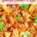 Close up of one pot spanish chicken and rich