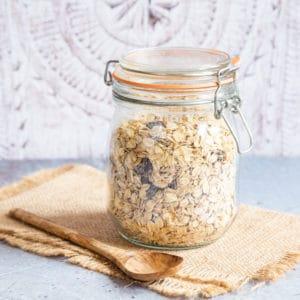 A kilner jar of basic home made muesli
