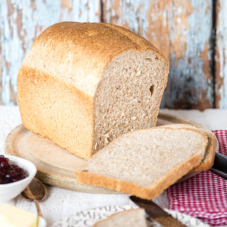 Sliced brown bread made with leaftover sourdough leaven