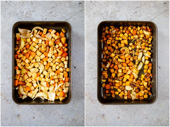 A collage showing a roasting pan of vegetables before and after roasting