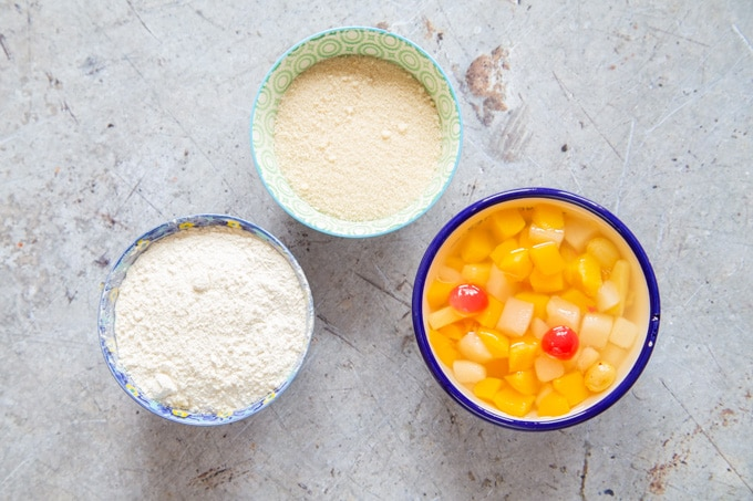 The three ingredients for fruit cocktail cake