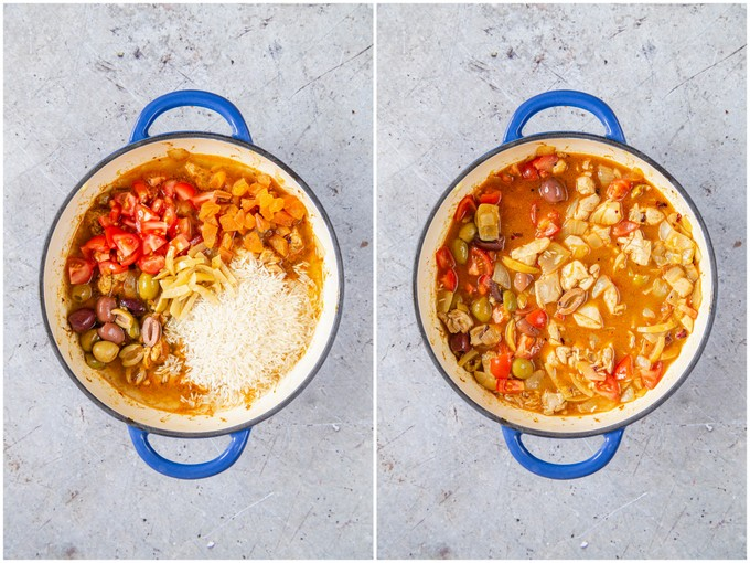 A collage of stage 4 of one pot chicken, flavoured with Moroccan influences. Before and after adding the main ingredients.