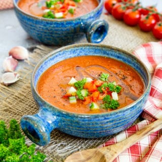 A bowl of red gazpacho soup
