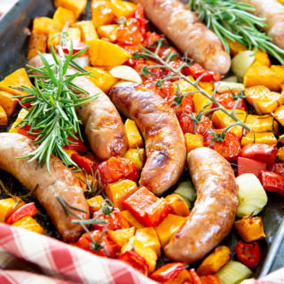 Cooked easy sausage traybake.