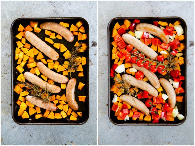 Sausages with butternut squash and rosemary, and then with onion, garlic, peppers and tomatoes, ready for the final bake