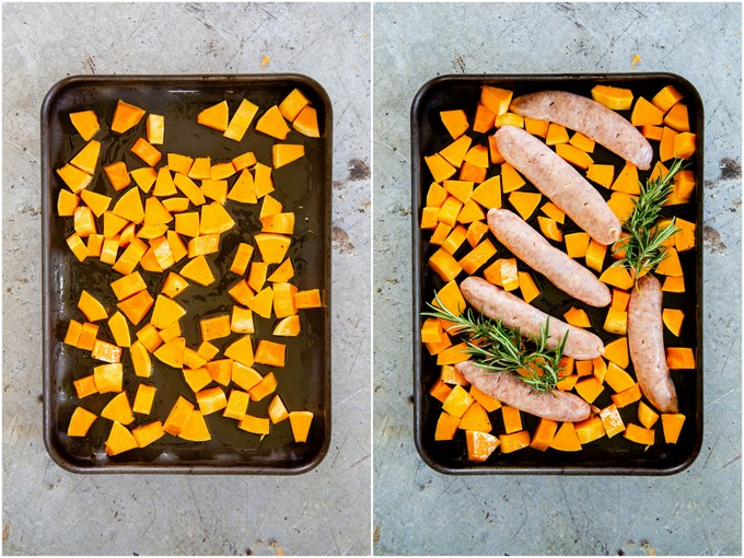 Roasting butternut squash, then adding sausages and rosemary.