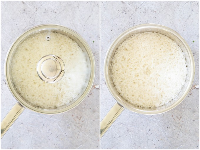 Cooking rice: a gallery of two saucepans of rice, lid on and lid off.