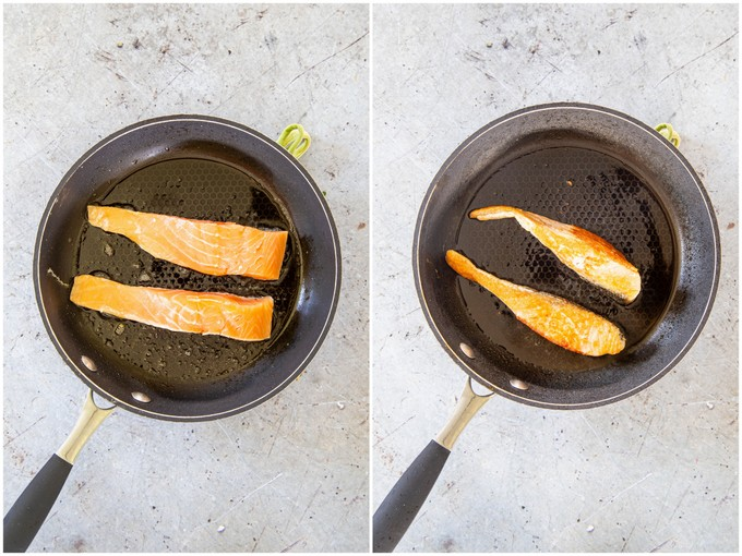 A picture from above of salmon fillets cooking in a frying pan, turning them on the sides to cook evenly