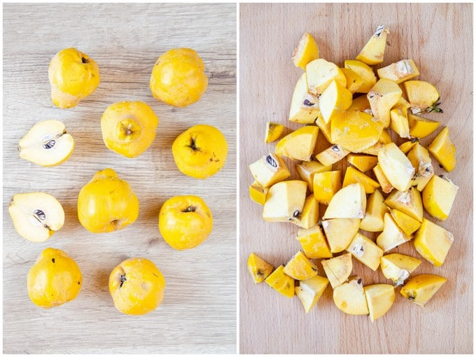 A picture of quinces, from above, before and after cutting into pieces.