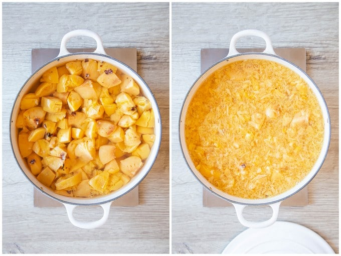 White casserole dish with quinces, before and after cooking in water. The cooked fruit is pulped.