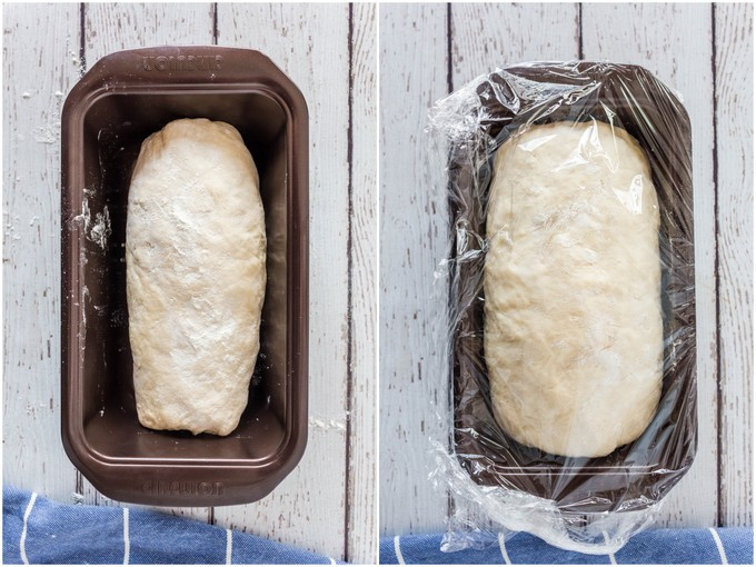 Proving yogurt bread - before and after.