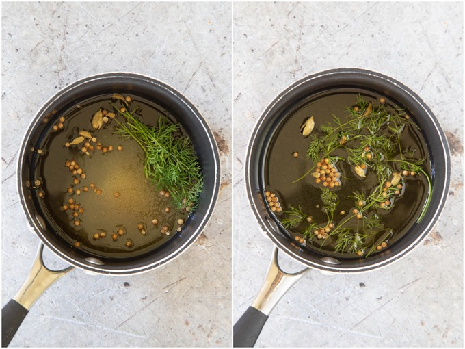 Pickling vinegar in a saucepan, with spices and herbs. before and after heating.