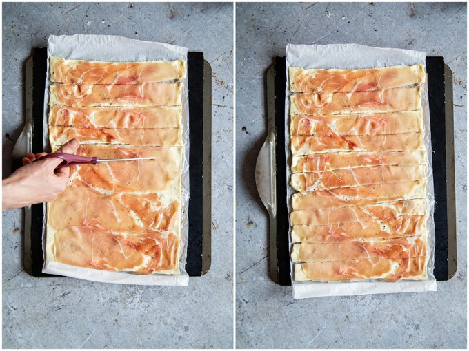 Cutting the puff pastry, prosciutto and cheese into strips.