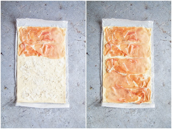Laying prosciutto over cheese on puff pastry.