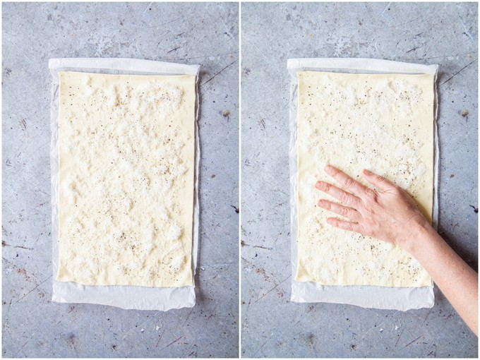 Spreading cheese evenly on unrolled puff pastry.