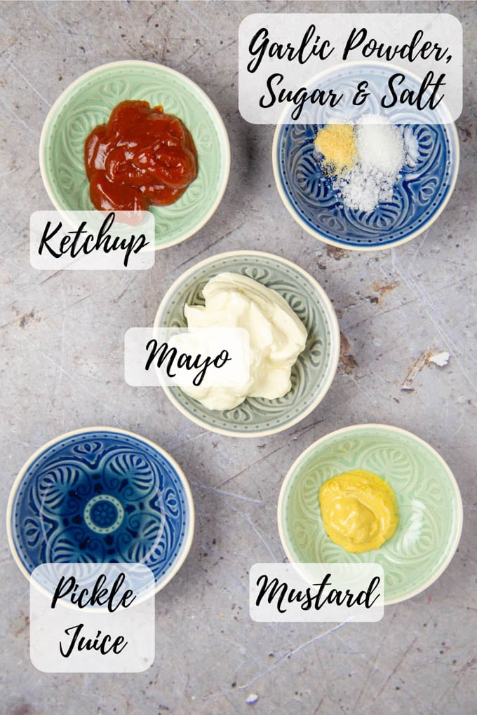 The ingredients for burger sauce, laid out in five small bowls.