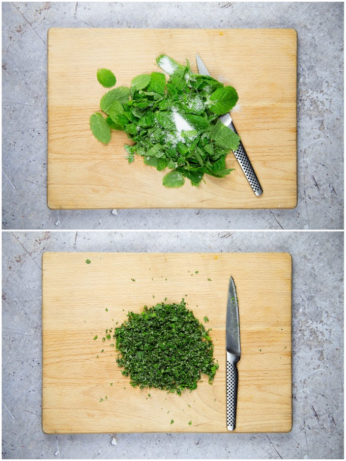 Two pictures of a chopping board with mint leaves, pre and post chopping into small pieces.