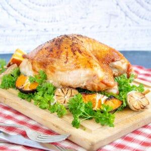 Turkey crown on wooden board