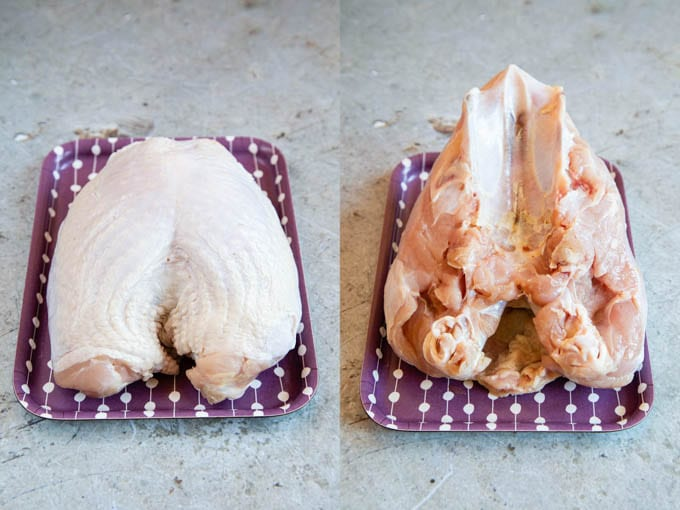 Uncooked turkey crown, shown right way, and upside down