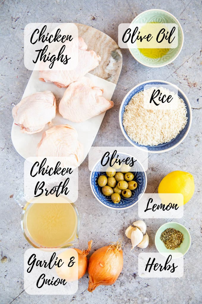 An annotated top down picture of Greek chicken one pot ingredients.