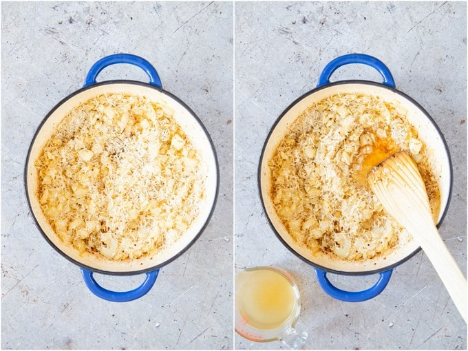 Frying rice in a shallow blue casserole dish, then deglazing with a little stock.
