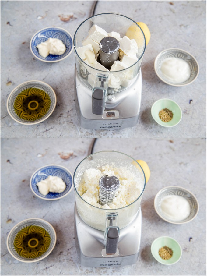 Feta cheese in a mini food processor, before and after blitzing. The remaining ingredients surrounding.