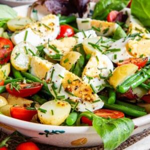 Egg and potato salad, close up.