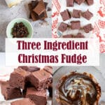 Four image collage of how to make threee ingredient christmas fudge