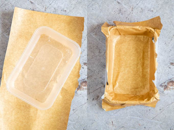 Two pictures showing a plastic tray being lined with foil backed parchment paper.
