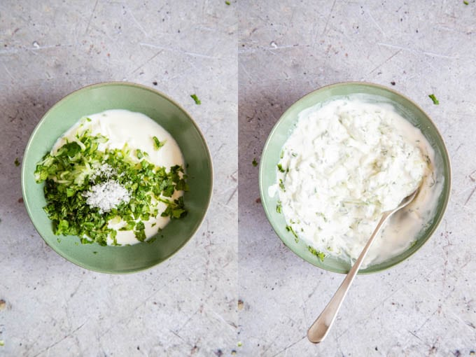 Cucumber raita - final stage. Mixing together all the ingredients.