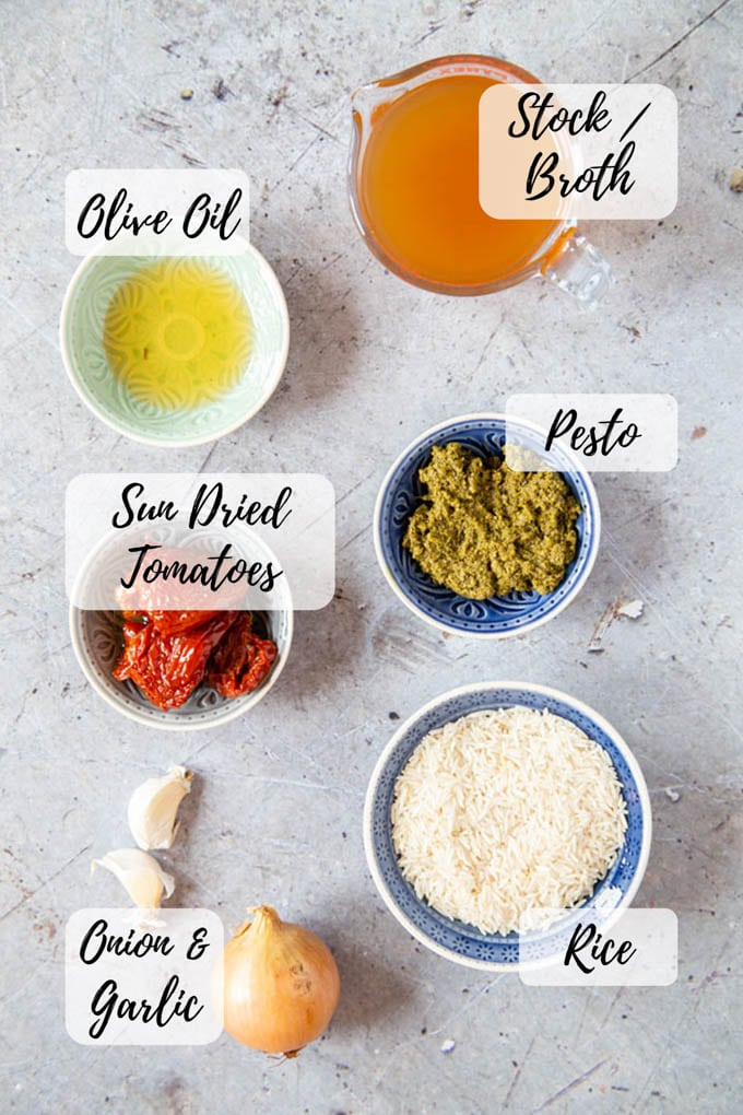 An annotated picture of the ingredients for Italian rice: olive oil, stock/broth, pesto, sun dried tomatoes, rice, onions and garlic.