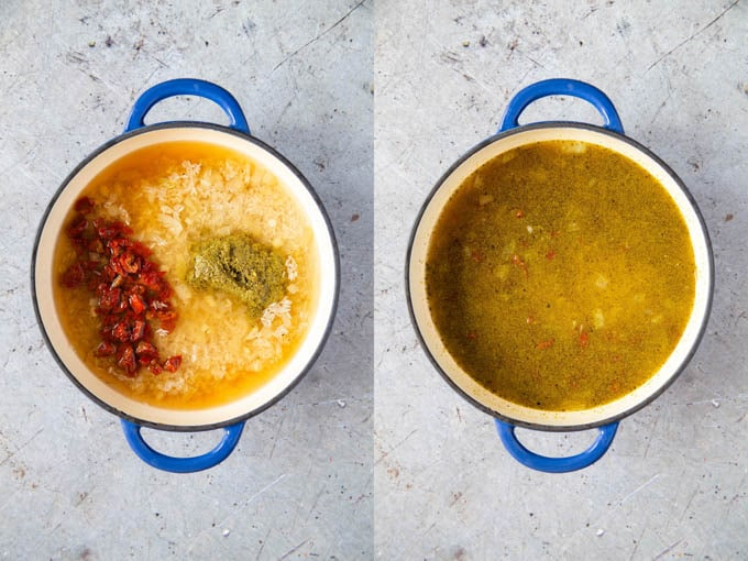 Cooking Italian rice: the stock, tomatoes and pesto are added.
