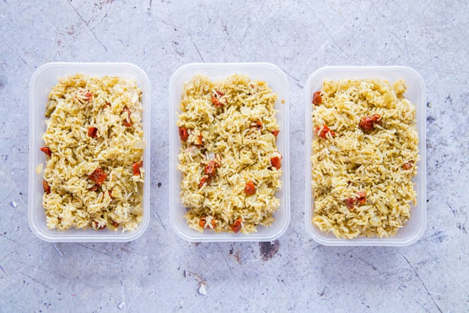 Three plastic trays of Italian rice.