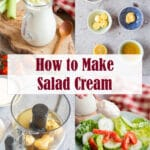 Collage of how to make salad cream