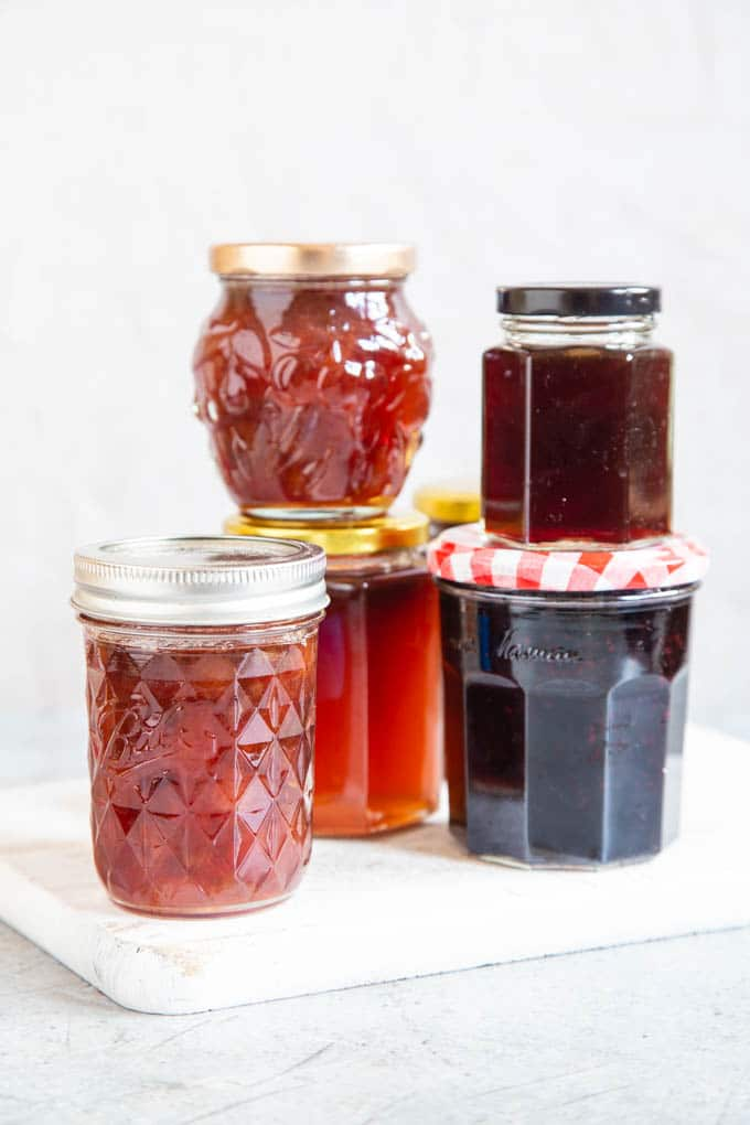 five jars of assorted jam