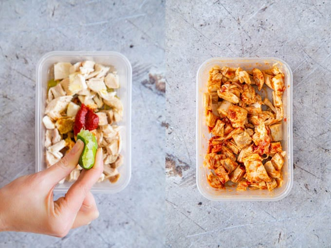 Two plastic boxes of leftover chicken with spices, tomato paste and lime juice, before and after shaking.