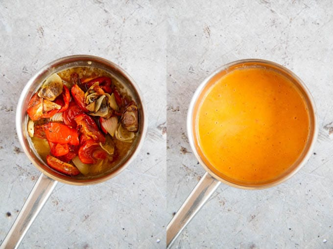 The soup before and after blitzing with a stick blender. The result is a smooth, orange soup.