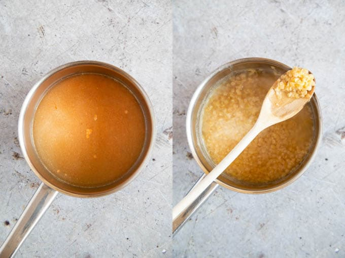 A saucepan of stock and red lentils, The lentils are cooked until soft.