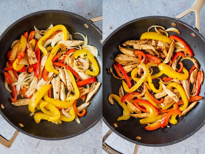 Cooking chicken fajita filling. Sliced bell peppers, onion, and slices of cooked chicken in a frying pan, before and after charring.