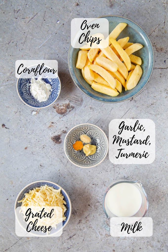 An annotated photo showing oven chips, cornflour, garlic, mustard and turmeric, grated cheese and milk - cheesy chips ingredients.