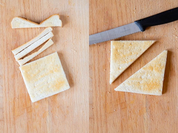 Toast is cut into squares and then halved into triangles.