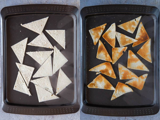 Slices of melba toast, before and after grilling. Before, they're white and soft. After, they're crispy and golden brown.
